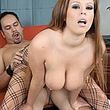 Busty in fishnets0  great natural boobs loves to give suck his cock deep. Voluminous natural natural tits loves to blowjob his penish deep