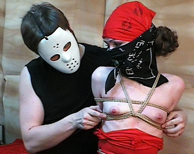 Masked maiden bondage3  slut in mask gets bound. Bitch in mask gets bound