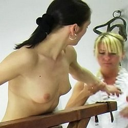 Barn whipping0. Michelle forgot to rake the hay and is called into the barn to receive her whipping.  The headmistress orders Michelle to remove her shirt, ties her to the whipping post and proceeds to give Michelle a thorough lashing.  Michelle cries out with every crac
