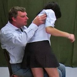 Schoolgirl spanking0. Vika knows her skirt is supposed to be fingertip length, but decides to shorten it anyway.  This act of defiance lands her in the headmasters office for some corporal punishment.  The headmaster drags Vika across his lap, lifts up her delicate skirt and gives