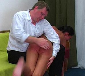 Hot german slut gets bent over and spank. Hanna was found to have a dildo in her room, something that is very much prohibited in the school.  He immediately awoke her and proceeded to spank her tan butt red, all the while she trys to squirm and run away.