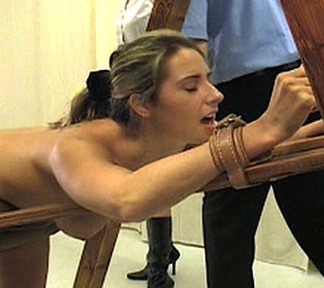 Great handed  in todays corporal punishment video helen is strapped into a medieval contraption exposing her soft fleshy ass to the stiff and painful blows of a great cane   helen had sneaked out of the all girls school to go to a party held near by but w. In todays corporal punishment video, Helen is strapped into a medieval contraption, exposing her soft fleshy bum to the stiff and painful blows of a big cane.  Helen had sneaked out of the all girls school to go to a party held near by, but was caugh