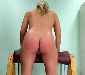 Cream colored goddess1. Laura is the latest victim in this spanking video.  She has by far one of the larger and softer asses as of late.  She was made to bend over our wooden contraption, allowing us full view of the punishment that was to ensue.  Her blond hair shaking with ev