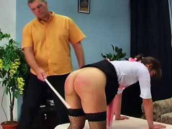Caning the maid1. Keira has failed to finish her chores and is punish for her disobedience in this caning film.  The taskmaster orders Keira remove her panties and bend over the table in preparation for her caning.  He then lifts her skirt and uses his cane to teach his