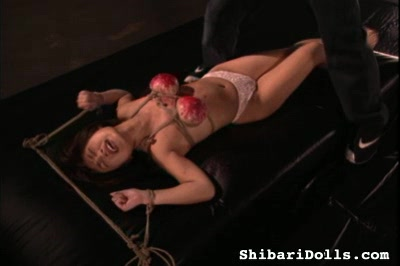 Busty japanese bondage. Curvy Asian Beauty gets her tits tied up and abused
