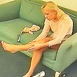 Stars and garters1. A pleasant young blonde gets dressed in her best nylon from top to anus