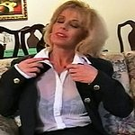 Red nailed smoker. Blonde sexpot Sammy glides her long red nails over her see through blouse as smoke covers her body