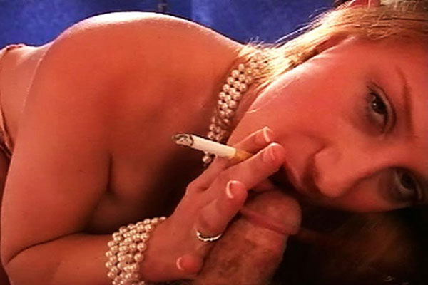 Postorgasm cigarette. Bambi enjoys the taste of her cigarette as cum drips from her mouth