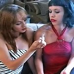 Exciting roommates share a cigarette 2.  Charlie and Jacqueline strip down to barely there lingerie and enjoy the taste of their cigarettes