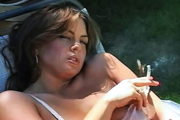 Smoking hot reveal 0  Mia Presley removes her lingerie and touches self with cigarette in hand.