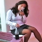 Smoking by the office water fountain 0. Horny Secretary Zoe Britton enjoys a cigarette by the indoor water fountain