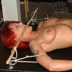 Reds breast bondage session0. When my fake red headed slave gets really naughty I take her to my dungeon for a hardcore breast bondage session.