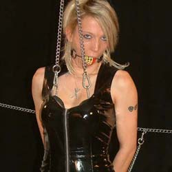 Chaining the tits0. When my horny blonde slave misbehaves I bind her boobs in chains and watch her squirm.