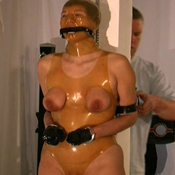 Plastic wrap breast bondage0  when a slave has been extra naughty i wrap her in saran wrap and ravage her tits. When a slave has been extra naughty I wrap her in saran wrap and ravage her tits.