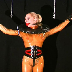 Leather clad tits2. When my slaves get too naughty I bind their tits in leather and watch the squirm.