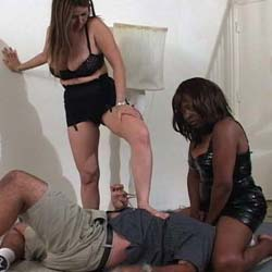 Dawn of the dominatrix0. Two FemDoms trample a hapless male
