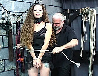 Nicoles tune up. Master Len dresses his doll then beats her with his cain