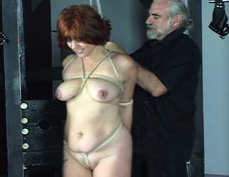 Marilyns first day. Japanese style bondage welcomes Marilyn on her very first beating