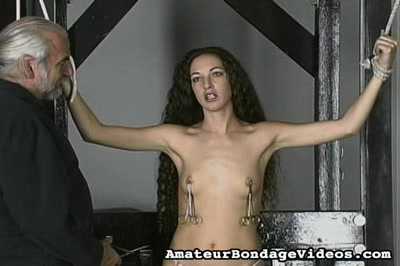 Squeezing the nipples. Nicole has her nipples wrecked and ravaged by the sadistic Master Len