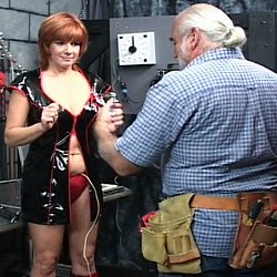 Dildos and electric stimualtion. Master Len uses a combination of dildos and electric stimulation to force his slave to orgasm.