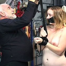 Naked and punished0. Master Len ties his naughty slave up with ropes and violates her naked flesh.