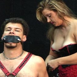 Punished a male slave0. Two lovely ladies punish their naughty male slave in this lustful BDSM film.