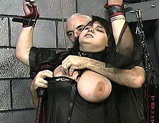 Hardcore tit whipping0. Master Len gives his new slave a hardcore tit whipping as punishment for her disobedient ways.