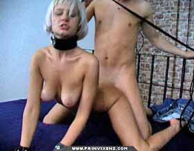 Bitch for cock0  blonde skank is collared and make love massive. Blonde Skank is collared and fuck rough