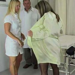 Medically necessary. In a medical setting, a young woman is paddled till her buns blaze