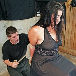 Classy dungeon bondage0. Nice Mia looks excited in her evening gown and looks fantastic tightly roped and suspended