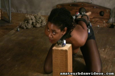 Bondage cocksucker0. Horny Ebony Celeste is tightly bound and made to cock sucking a hard rubber dong