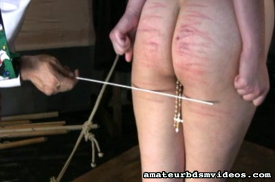 Caned and marked0. Sister Marina is showing off some terrific lash marks across her tiny butthole