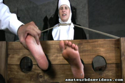 Foot torment0. Sister Marinas ankles are locked in stocks and Brother JR tortures her tender feet