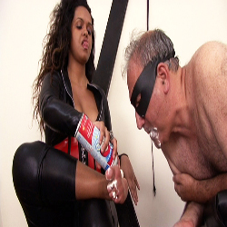 Dominatrix spitting games0. This sicko gets off on having the mistress spit in his mouth