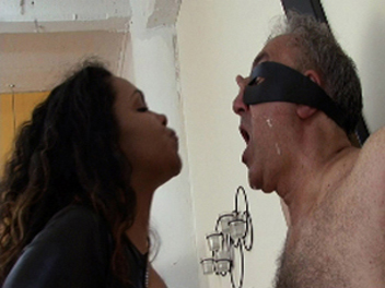 Ebony spitting fetish0  mistress humiliates her slave with spitting games. Mistress humiliates her slave with spitting games