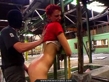 Bound and spank0  tall redhead is bound and spank heavy across the bum. Tall redhead is bound and slap marseive across the arse