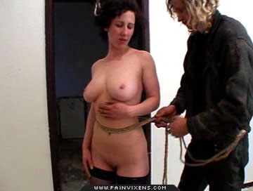 Heavy titty humiliation0  milf with heavy naturals is bound in the dungeon and humiated. MILF with voluminous naturals is bound in the dungeon and humiated
