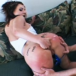 Backside choking action2. Her cunt is so swollen it looks like it is hosted an entire football team.  So it comes as no surprise that her anus is equipped to choke down multiple sex toys at once.  This gal wont need many lessons to graduate to some hardcore anus fisting action.