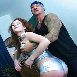 Trained to take it all2. This red-haired waif has been trained to shimmy out of her hotpants and fist her own analhole whenever her master desires.  Multiple dildos and enormous glanalhole anal plugs are not a problem for this sex freak!  So now it is no problem for her to take two dildos