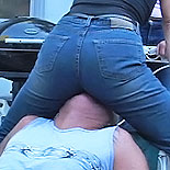 Denim crush1. Exciting babes in tight denim mash their crotches into subby-boys face