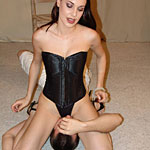 Horny raven1. Raven hairy Ander looks big in her corset while smothering a bully