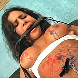 Model in trouble0  hot girl is torture and scalded with burning wax. Hot girl is tormented and scalded with burning wax