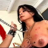 Pain games0  brunette is tormented to the extreme with dozens of clothespins on her tits. Brunette is tortured to the extreme with dozens of clothespins on her boobs