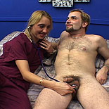 Naughty nurse2. Buff blonde babe smothers her patient in the bedroom