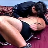 Fetish gear momma0 Plumper in bondage outfit uses her thighs as earmuffs.
