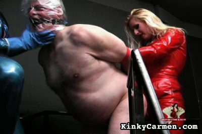 Cornered captive0  the women drop hot wax on the dick and balls of their fat captive before buttfucking him with a dildo. The women drop hot wax on the penish and balls of their fat captive before butt-fucking him with a dildo