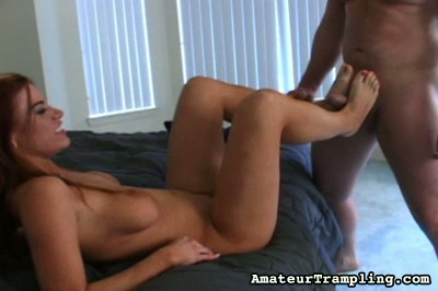 Best of trample 63. He give suck her bare foot and she uses her bare feet to jerk off his dick