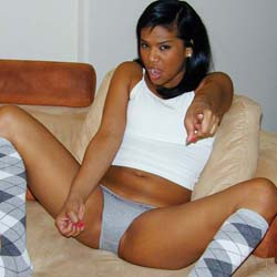 Emy 4. Cocoa cutie Emy in her cotton socks and cotton Calvin bikinis is out to make you cream for her.