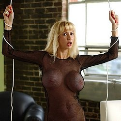 Bigboobed bondage. Big-boobed blonde is bound and molested