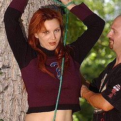 Kelly steele hamilton steele. Redheaded Kelly is tree-bound, clothespinned, roped